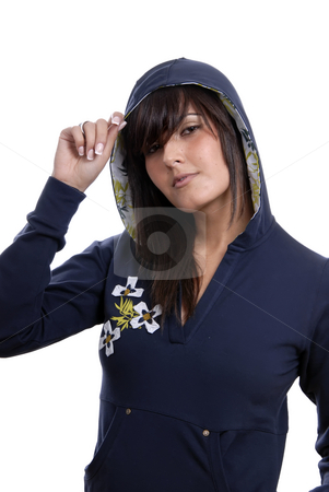 Woman stock photo, Young woman posing in white background in casual clothes by Rui Vale de Sousa