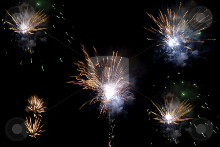 Fireworks stock photo, Fireworks in the black sky at night by Rui Vale de Sousa