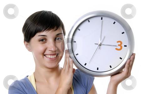 Clock stock photo, Casual young woman holding a big clock by Rui Vale de Sousa