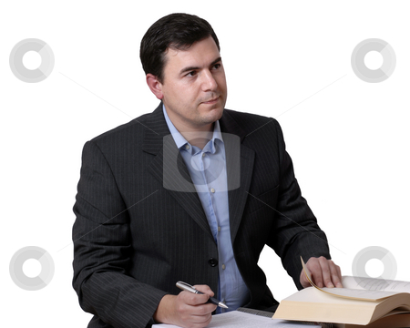 Working stock photo, Young business man reading a book on white by Rui Vale de Sousa