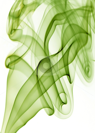 Blue smoke stock photo, Green rays smoke abstract in white background by Rui Vale de Sousa