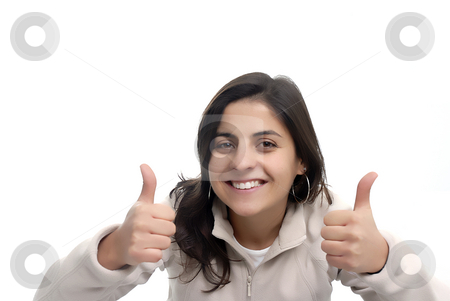 Thumbs up stock photo, Beautiful Woman With Thumbs Up in white background by Rui Vale de Sousa