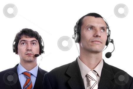 Talking stock photo, Two young call center men talking by the phone by Rui Vale de Sousa