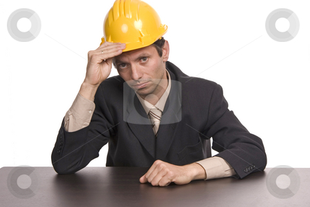 Yellow stock photo, An engineer yellow hat, isolated on white by Rui Vale de Sousa