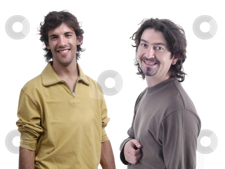 Casual stock photo, Two casual young men portrait isolated, focus on the left man by Rui Vale de Sousa