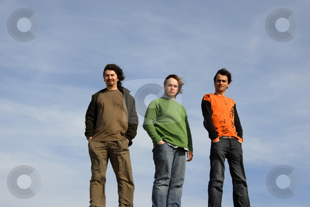 Men stock photo, Three casual young men with the sky as background by Rui Vale de Sousa