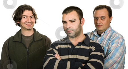 Casual men stock photo, Three casual men isolated on white background by Rui Vale de Sousa