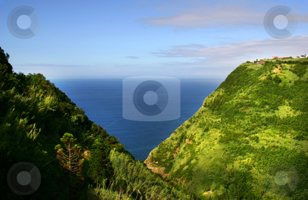 Coast stock photo, Village at the coast in azores island by Rui Vale de Sousa