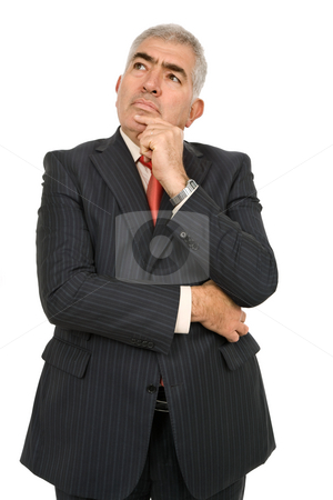 Thinking stock photo, Mature business man portrait in white background by Rui Vale de Sousa