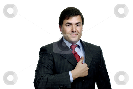 Thumb up stock photo, Young casual man portrait in white background by Rui Vale de Sousa