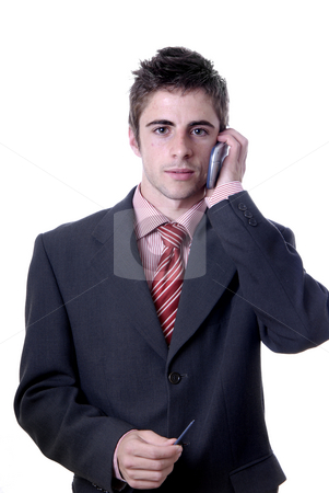 Positive stock photo, Young man on the phone in white background by Rui Vale de Sousa