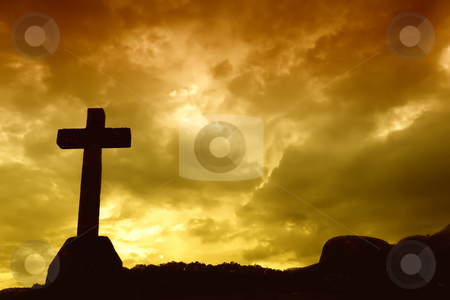 Cross stock photo, Cross silhouette and the clouds at sunset by Rui Vale de Sousa