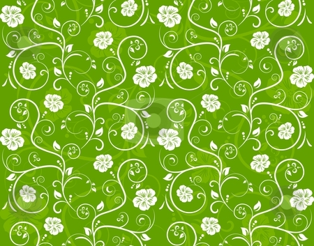 Seamless floral pattern stock vector clipart, Seamless vector texture of overlying layers of floral elements and scrolls. by Ina Wendrock