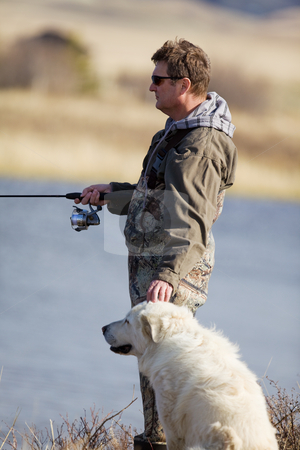 Mans best friend stock photo, A man and his dog enjoying a day together by Steve Mcsweeny