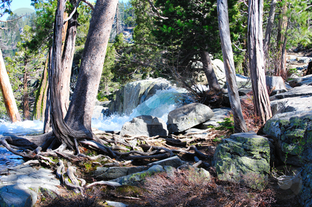 Eagle Falls At The Top - Lake Tahoe stock photo, Top of Eagle Falls, Lake Tahoe California showing the torquoise colored water before falling over the top of the waterfall by Lynn Bendickson