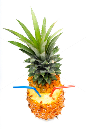 Pineapple drink stock photo, Ripe pineapple cutted on top with red and blue straws isolated on white background by Francesco Perre