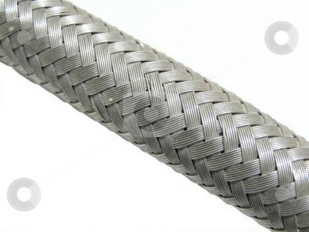 Flexible pipe stock photo, Flexible metal isolated pipe by Sergej Razvodovskij