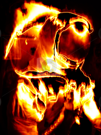 Flaming Astronaut stock photo, Illustration of an astronaut in fiery flames. by Todd Arena