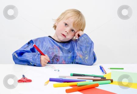 Creative block stock photo, A young artist enduring a creative block by Corepics VOF