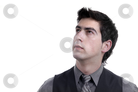 Thoughts stock photo, Young business man portrait in white background by Rui Vale de Sousa