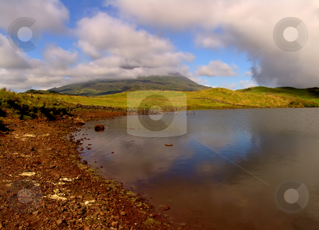 Lake stock photo, Mountain of Pico in azores and a lake by Rui Vale de Sousa