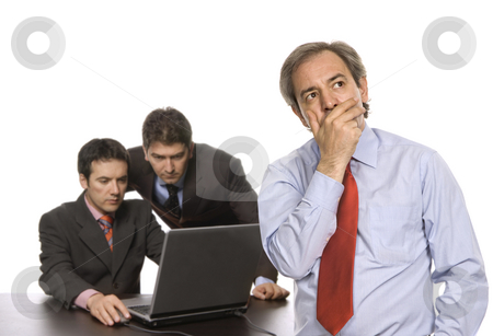 Workers stock photo, Boss and two workers at a desk, isolated on white by Rui Vale de Sousa