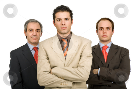 Team stock photo, Three business men isolated on white background by Rui Vale de Sousa
