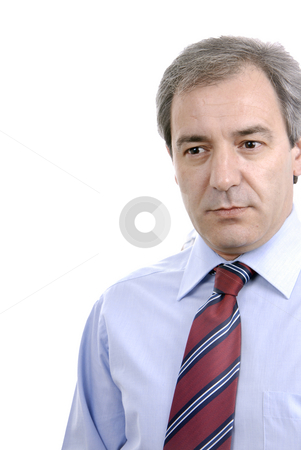 Thoughts stock photo, Business man full of thoughts - isolated over a white background by Rui Vale de Sousa