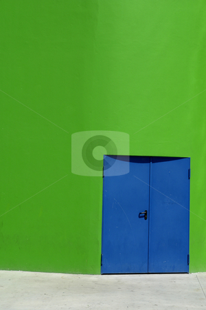 Modern building stock photo, Blue door in a modern green building detail by Rui Vale de Sousa