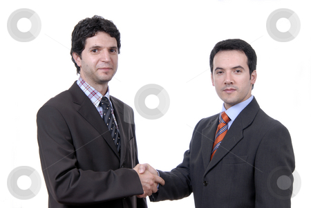 Shaking stock photo, Businessmen shaking hands - isolated over a white background by Rui Vale de Sousa