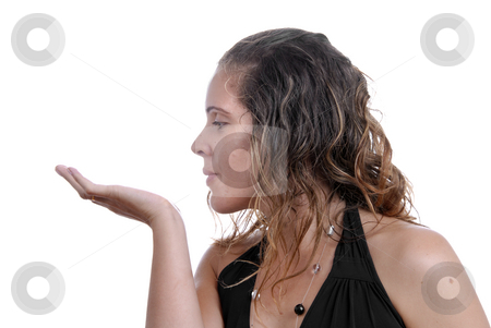 Hand stock photo, Girl with open hand, place to put something by Rui Vale de Sousa