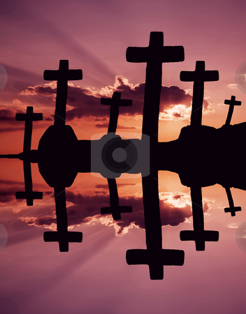 Almighty stock photo, Cross at the sunset and the orange clouds by Rui Vale de Sousa