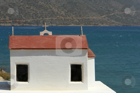 Chapel stock photo, Small white chapel at the coast in the island of crete, greece by Rui Vale de Sousa