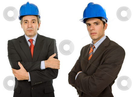 Workers stock photo, Two workers isolated in a white, focus on the left man by Rui Vale de Sousa