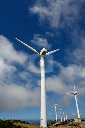 Windmills stock photo, Wind turbines farm in the top of the mountain by Rui Vale de Sousa