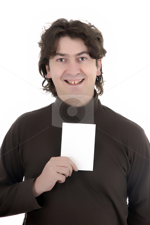 Card man stock photo, Man with a white card in a white background by Rui Vale de Sousa