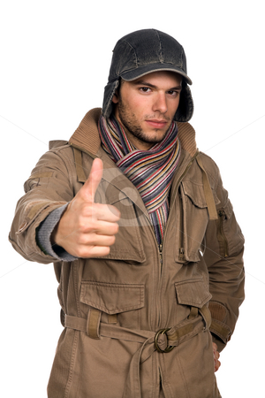 Thumbs stock photo, Studio picture of a young man dressed for winter by Rui Vale de Sousa