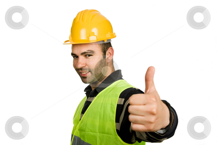 Thumb stock photo, Foreman with yellow hat isolated on white background by Rui Vale de Sousa