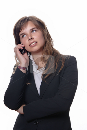 Woman stock photo, Young business woman on the phone isolated on white by Rui Vale de Sousa