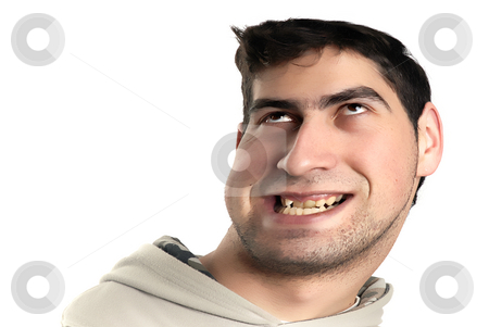 Man stock photo, Young casual man portrait distorted in computer by Rui Vale de Sousa
