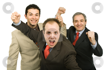 Winners stock photo, Three business man isolated on white background by Rui Vale de Sousa