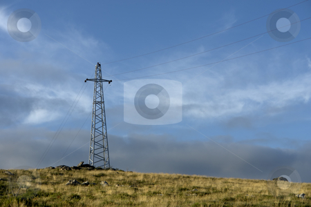 Energy stock photo, Energy cables in the top of the hill by Rui Vale de Sousa