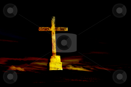 Cross stock photo, Christian cross and the clouds in sepia tone by Rui Vale de Sousa