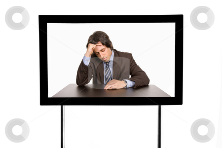 Television stock photo, Young man portrait in a modern television, isolated by Rui Vale de Sousa