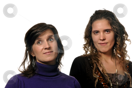 Casual stock photo, Two young casual women isolated on white, focus on the left woman by Rui Vale de Sousa