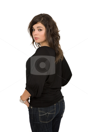 Beautiful woman stock photo, Young beautiful woman portrait, isolated on white by Rui Vale de Sousa