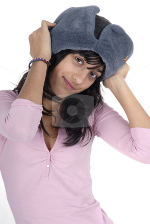Girl stock photo, Young girl with a russian hat portrait by Rui Vale de Sousa
