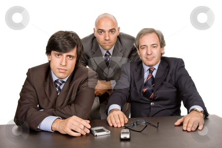 Workers stock photo, Group of workers on a desk, isolated on white by Rui Vale de Sousa