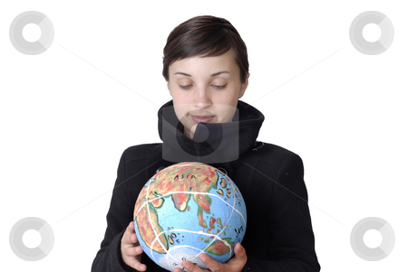 Hold stock photo, Pretty young woman holding the world in her hand by Rui Vale de Sousa