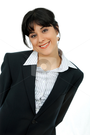 Businesswoman stock photo, Young woman portrait isolated on white background by Rui Vale de Sousa